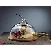 Pasabahce原木起司蛋糕盤+手工水晶玻璃罩(小) 點心盤 派對盤