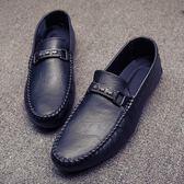 豆豆鞋新款男士套腳韓版懶人樂福鞋潮鞋休閒日常男鞋〖米娜小鋪〗