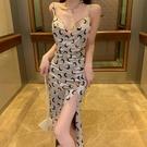 年會禮服 年會禮服2021新款絲絨印花吊帶開叉露背內搭女神范性感【快速出貨八折搶購】