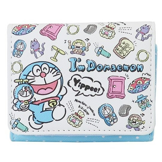 小禮堂 哆啦A夢 皮質扣式短夾 短皮夾 零錢包  (藍白 玩偶) 4943777-82156