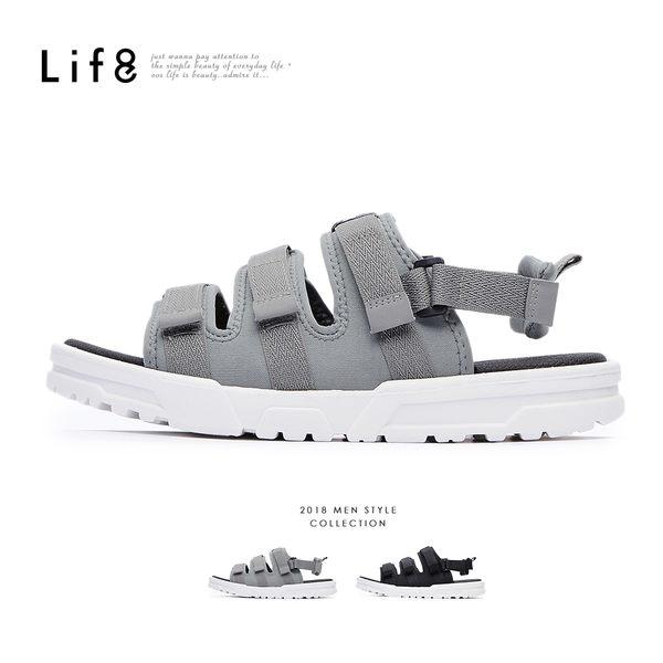 Life8-Sport 2way 潛水布涼拖鞋-黑色/灰色【09884】