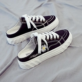 帆布鞋 夏季新款帆布女鞋正韓百搭小雛菊半拖鞋夏天一腳蹬懶人布鞋-Ballet朵朵