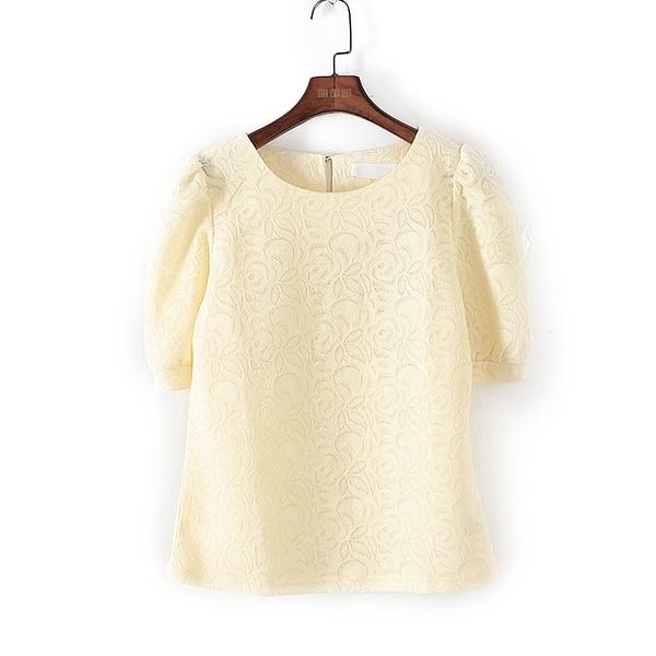 [超豐國際]麥春夏裝女裝黃色韓版氣質公主袖T恤 44304(1入)