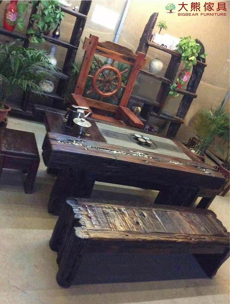 【大熊傢俱】老船木 茶台 茶几 泡茶桌 實木桌 原木桌 主人椅 扶手椅 船木家具 休閒組椅