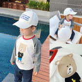 嬰童裝嬰兒春裝撞色插肩小熊卡通T恤