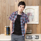 【A-022】格紋學院氣質純棉短袖休閒襯衫(紅藍)● 樂活衣庫