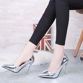 韓版春季尖頭超高跟鞋性感細跟夜店淺口鏡面單鞋百搭銀色女鞋