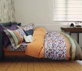 【金‧安德森】精梳棉《高地》床包四件組(桔)