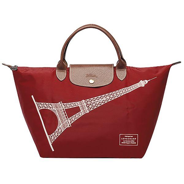 【雪曼國際精品】Longchamp經典限量款M號短把巴黎鐵塔包(棗紅色)