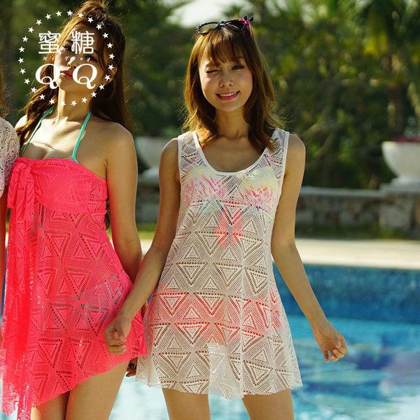現貨▶罩衫 V領三角網洞泳衣罩衫裙 比基尼罩衫【13006】