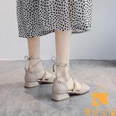 包頭涼鞋女夏季粗跟高跟鞋中跟綁帶單鞋仙女鞋子【慢客生活】