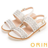 ORIN 夏日異國渡假 圖騰簍空牛皮粗低跟涼鞋-白色