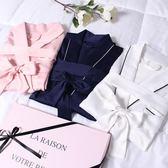 絲質綢緞睡袍女夏季長款短袖性感浴袍薄款新娘晨袍刺繡睡衣可定制 【限時88折】