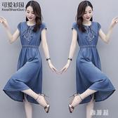 夏天裙子女2020夏季新款女裝收腰顯瘦氣質法式復古長裙牛仔連身裙洋裝 OO11566【雅居屋】