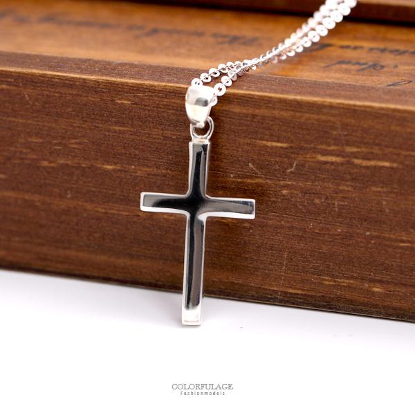 項鍊 925純銀素面十字架項鍊 簡單無裝飾純粹 柒彩年代【NPB91】