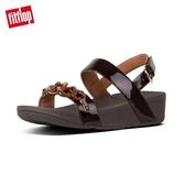 【FitFlop】LOTTIE TORTOISESHELL CHAIN BACK STRAP SANDALS玳瑁紋鎖鏈後帶涼鞋-女(巧克力棕/玳帽紋