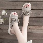 夏季新款拖鞋女外穿蝴蝶結學生時尚百搭網紅半拖平底防滑涼拖  英賽爾3c