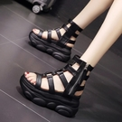增高涼鞋 涼靴女新款夏季鏤空時尚百搭鬆糕厚底內增高仙女羅馬涼鞋-Ballet朵朵