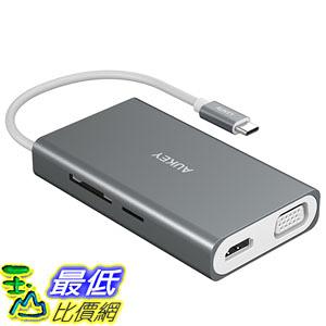 [107美國直購] 集線器 AUKEY USB C Hub [ALL IN ONE] with Ethernet, 100W Power Delivery, 4K HDMI