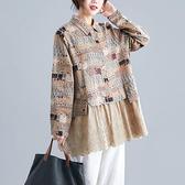 日系印花下襬拼接蕾絲上衣-大尺碼 獨具衣格