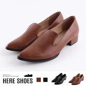 [Here Shoes]包鞋-MIT台灣製 皮質鞋面 尖頭低跟休閒鞋 包鞋 樂福鞋 純色簡約款-KT8131