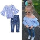 ins 兩件組 套裝 一字領 喇叭袖 水藍 條紋 上衣 露肩 平口 牛仔褲 刷白 刷鬚 破洞 歐美 小童 中童