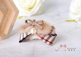 蜜諾菈Minerva‧秋冬新款‧格紋氣質毛條珍珠蝴蝶結髮飾‧編號00379