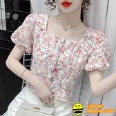 雪紡上衣 法式方領短袖碎花雪紡襯衫女夏設計感小眾泡泡袖小衫短款別致上衣【happybee】