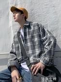 襯衫港風格子潮流寬鬆長袖男士襯衫春季情侶休閒百搭襯衣海角七號