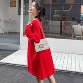 漂亮小媽咪 韓 洋裝 【D9055】 高質感 長袖 針織 毛衣 孕婦裝 毛衣裙 針織洋裝 孕婦洋裝