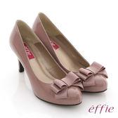effie 裝飾系列 全真皮立體蝴蝶結飾高跟鞋  粉紅