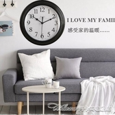 現代簡約鐘錶掛鐘客廳臥室家用圓形電池數字時鐘掛錶壁鐘 阿卡娜