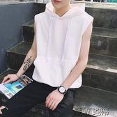 夏季連帽馬甲衛衣男女韓版寬鬆帶帽無袖T恤休閒運動坎肩背心【潮咖地帶】