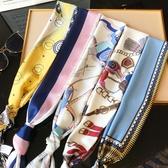 細窄長條小絲巾長款春秋薄裝飾韓國夏季百搭腰帶領巾女士圍巾方巾 韓國時尚週