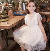 女童連身裙白色蕾絲裙子兒童公主裙2019新款夏大童小女孩洋氣禮服