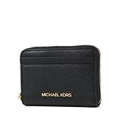 美國正品 MICHAEL KORS 防刮皮革拉鍊零錢包/卡包-黑色【現貨】
