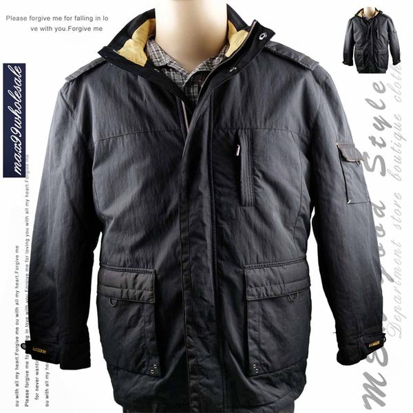 【大盤大】FUND BOSSO 鋪棉外套 L號 拉鍊外套 男裝 冬 連帽外套 可拆帽 百貨 長版外套 夾克