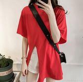 韓系M-4XL中大尺碼開叉圓領短袖上衣NE03D.5101寬松顯瘦t恤女短袖上衣休閑開叉半袖體恤