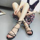 韓版低跟涼鞋女夏2018新款交叉綁帶復古羅馬鞋露趾學生平底涼鞋子父親節促銷