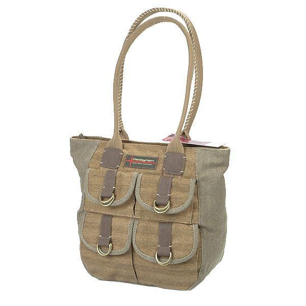 HEDGREN 棉麻系列中性多口袋肩背包(卡其) HAM18000KI
