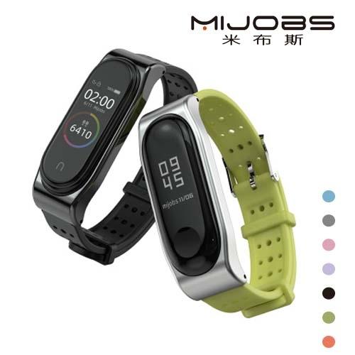 MIJOBS 小米手環 4 3 代 替換經典青春腕帶 米布斯 多色 腕帶 替換帶 測心律 運動 腕帶 矽膠錶帶 透氣