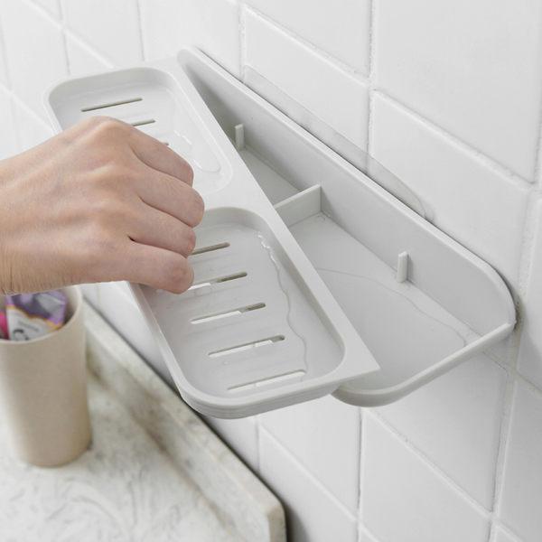 雙11鉅惠 瀝水香皂盒吸盤壁掛式浴室香皂架免打孔衛生間肥皂盒吸壁式大號 芥末原創