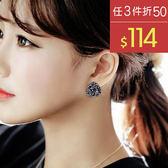 耳環 立體 花朵 鑲鑽 寶石 甜美 耳環【DD1612124】 BOBI  06/22