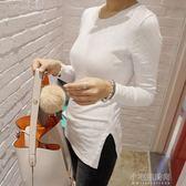 修身內搭竹節棉長袖女t恤 中長款打底衫純棉緊身上衣『小宅妮時尚』