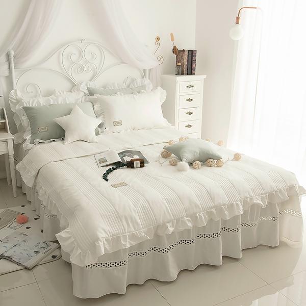 純棉鋪棉床罩組 安妮兒 白色 高品質 5尺 標準雙人 兩用被 薄床罩 冬夏兩用被 鋪棉被套 佛你