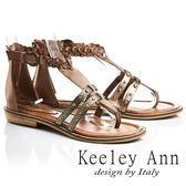 ★2017春夏★Keeley Ann騎士風格~古羅馬風情編織鉚釘全真皮平底夾腳涼鞋(棕色)-Ann系列
