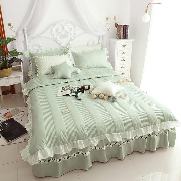 純棉鋪棉床罩組 安妮兒 豆綠 高品質 5尺 標準雙人 兩用被 薄床罩 冬夏兩用被 鋪棉被套 佛你