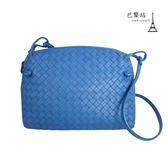 【巴黎站二手名牌專賣店】*現貨*Bottega Veneta BV 真品*經典小羊皮編織斜背貝殼包(藍色)