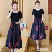 假兩件式洋裝 胖mm大碼收腰連身裙洋氣寬鬆時髦印花裙新款夏裝短袖中長裙 EY6874『東京潮流』