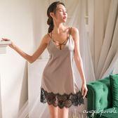 天使波堤【LD0252】細肩吊帶裸背蕾絲拼接性感睡裙情趣家居服(共二色)-絲綢性感睡衣四季可穿